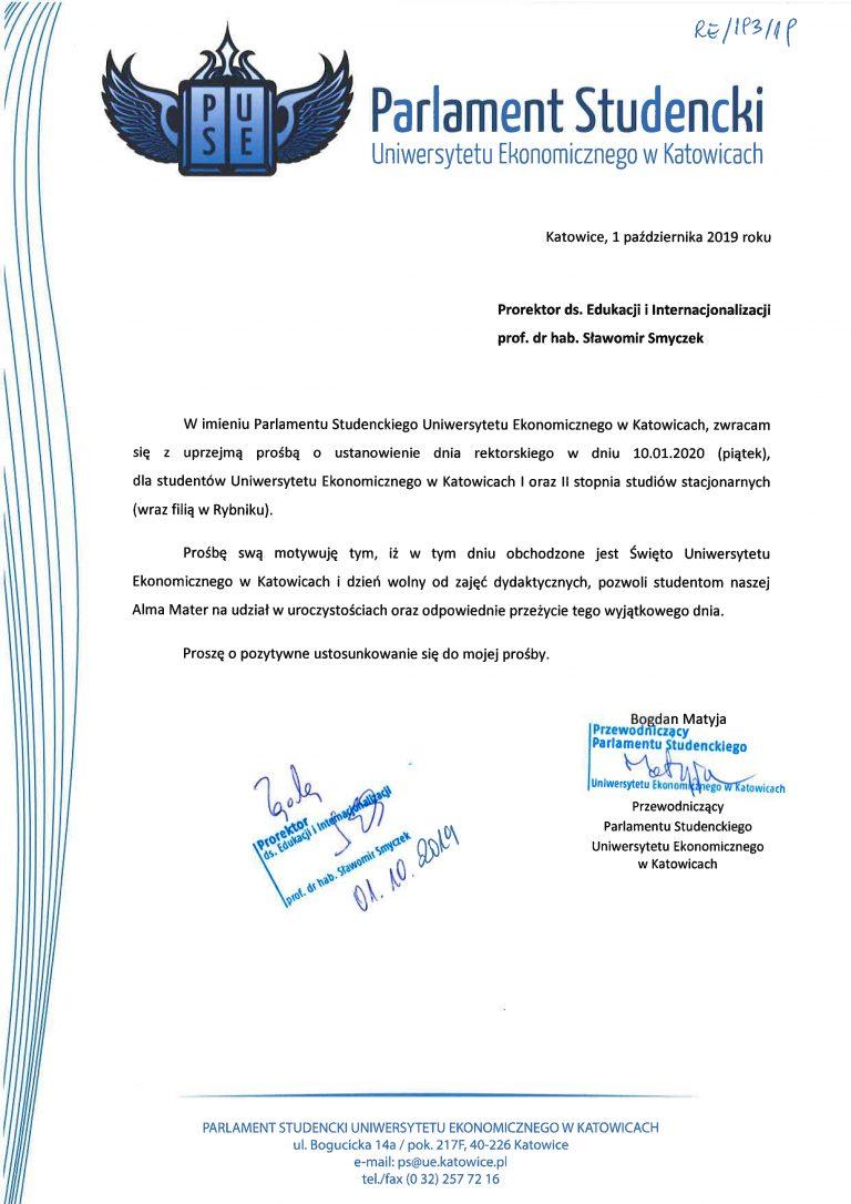 Zgoda na dzień rektorski dnia 10.01.2020